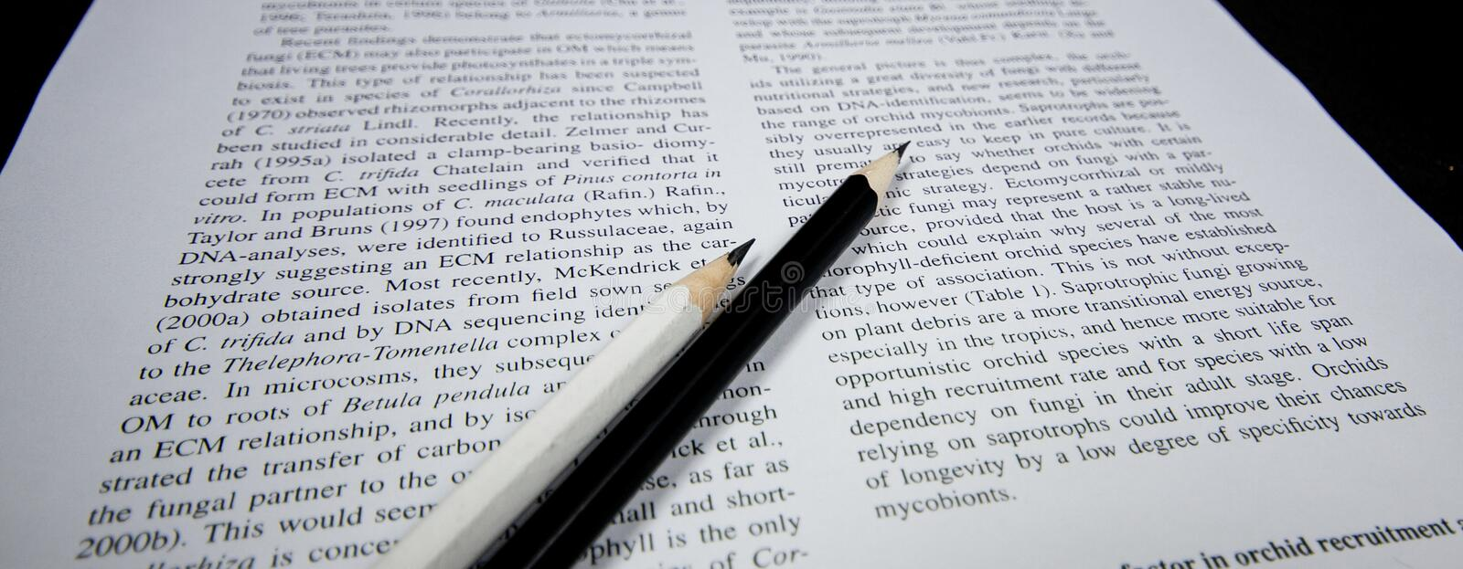Black and white pencils on the texbook stock image
