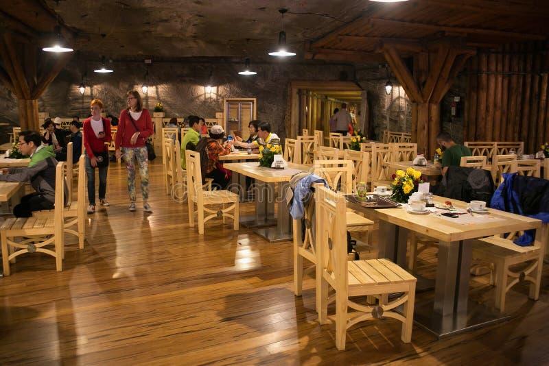 WIELICZKA, POLAND - MAY 28, 2016: Restaurant in the Wieliczka Salt Mine. royalty free stock photography
