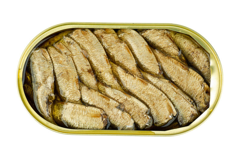 Opened tin can with conserved sprat fish royalty free stock images