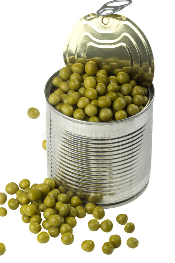 Download Opened tin with green peas stock photo. Image of iron - 51366566