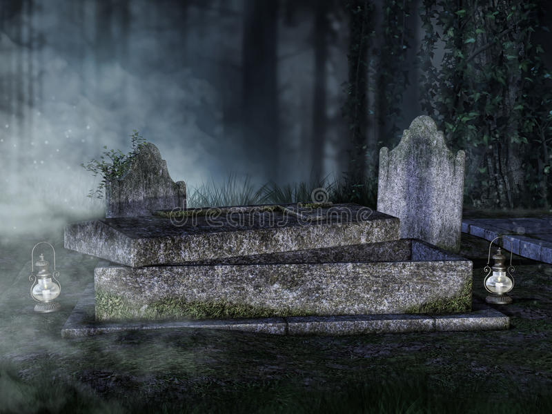 Opened tomb in a graveyard. Old opened tomb with lanterns in a graveyard at night stock illustration