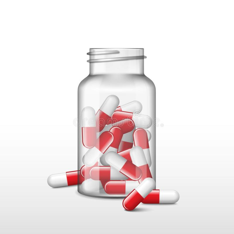 Opened transparent medicine box or bottle with red capsules. Vector realistic pills, tablets, drug of painkillers. Opened transparent medicine bottle and few red stock illustration