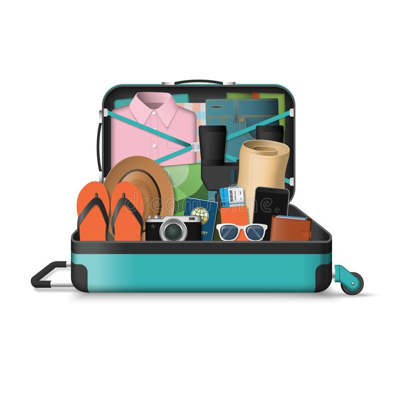 Opened travel suitcase full of things for vacation vector illustration