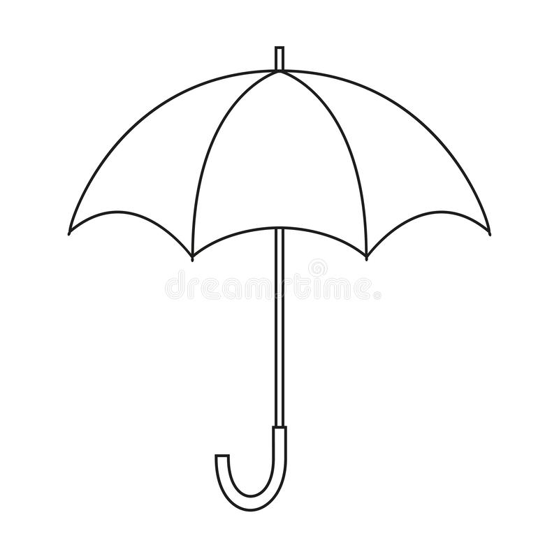 Opened umbrella. Black and white vector icon. Template for coloring and design isolated. royalty free stock photography