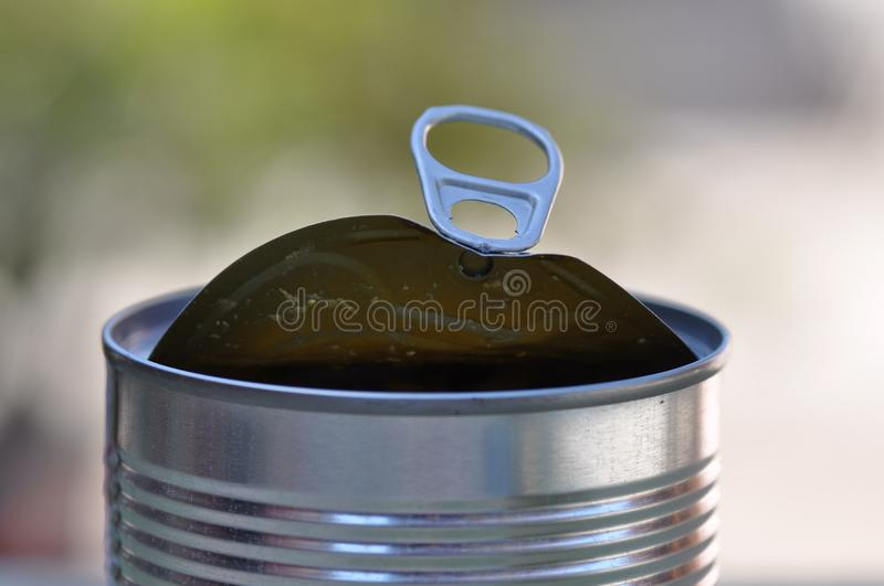 Opened tin can with ring pull royalty free stock photos