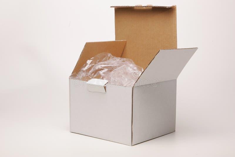 Opened white box stock image