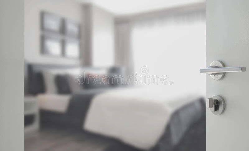 Opened White Door To Bedroom In Modern Interior Style Stock Photo ...