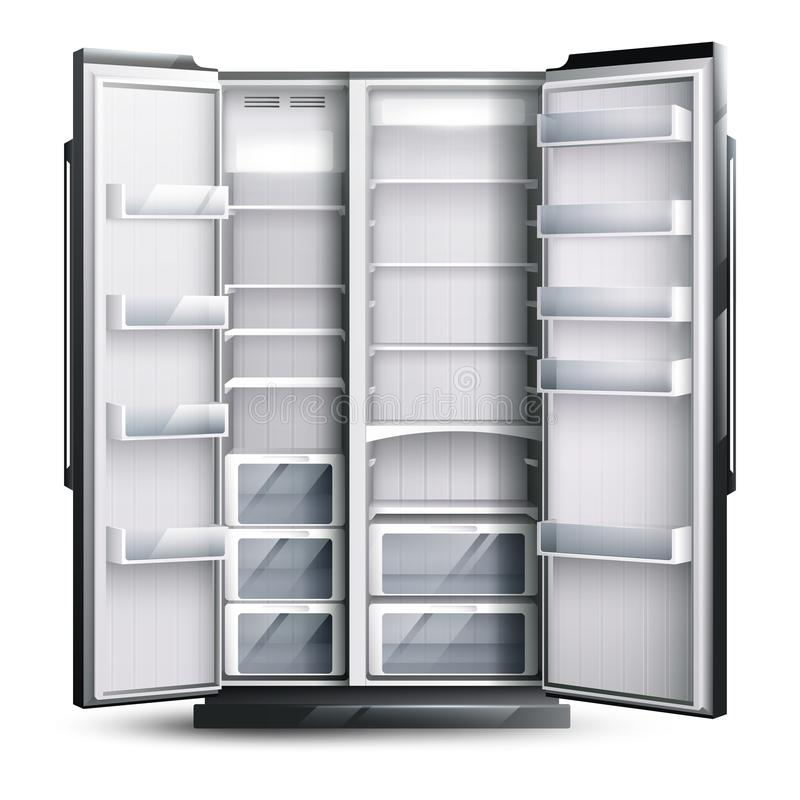 Opened Wider Empty Refrigerator stock illustration