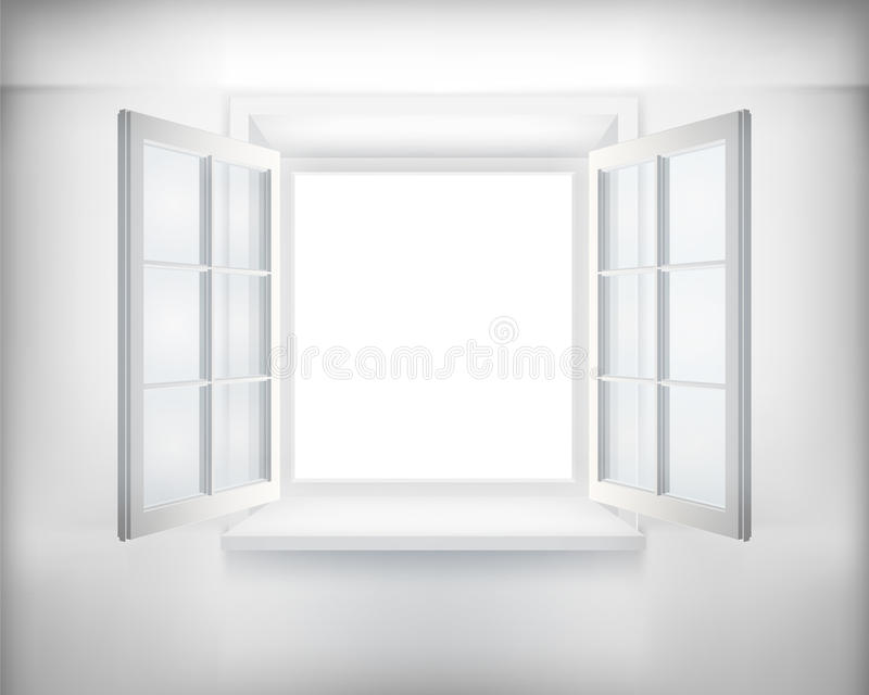 Opened window. Opened white window. Vector illustration