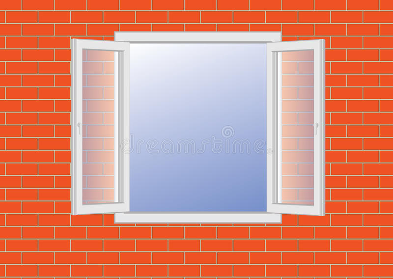 Download Opened Window On A Brick Wall Stock Vector - Image: 24329640