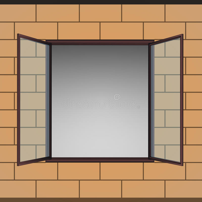 Free Opened Window In Brick Facade Drawing Stock Photo - 32509850