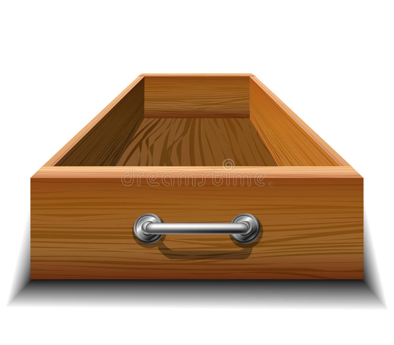 Opened wood drawer. With metallic handle stock illustration