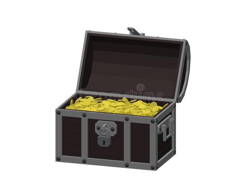Opened wooden chest with golden coins. Isolated on white background vector illustration