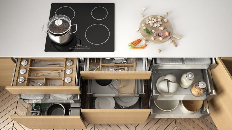 Opened wooden kitchen drawer with accessories inside, solution f vector illustration