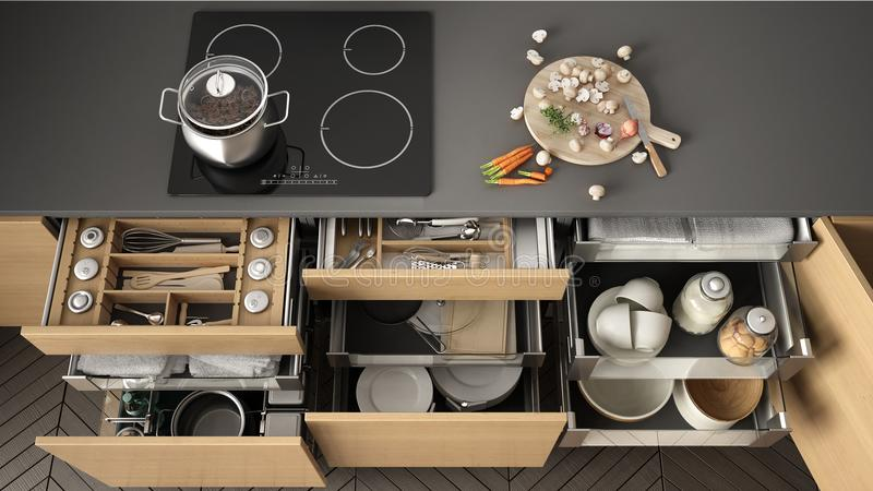 Opened wooden kitchen drawer with accessories inside, solution f. Or kitchen storage and organizing, cooking, modern interior design stock illustration