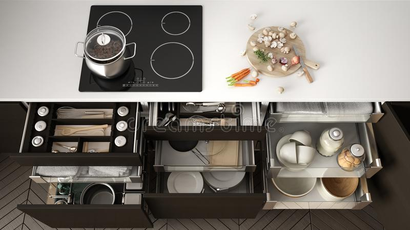 Opened wooden kitchen drawer with accessories inside, solution f. Or kitchen storage and organizing, cooking, modern interior design vector illustration