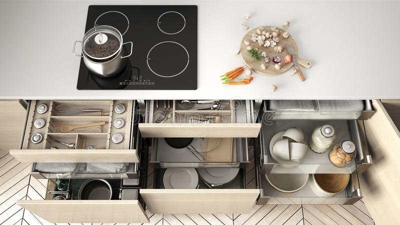 Opened wooden kitchen drawer with accessories inside, solution f. Or kitchen storage and organizing, cooking, modern interior design royalty free illustration