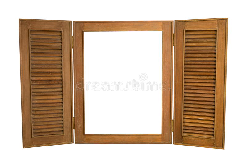 Opened Wooden Window on White Background, With Copy Spa royalty free stock images