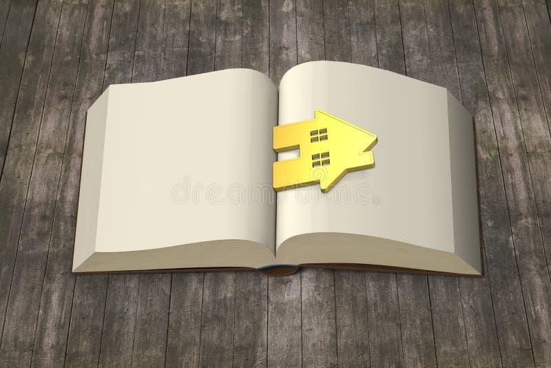 Openend boek met gouden huis op houten lijst, brengt de Kennis w royalty-vrije illustratie