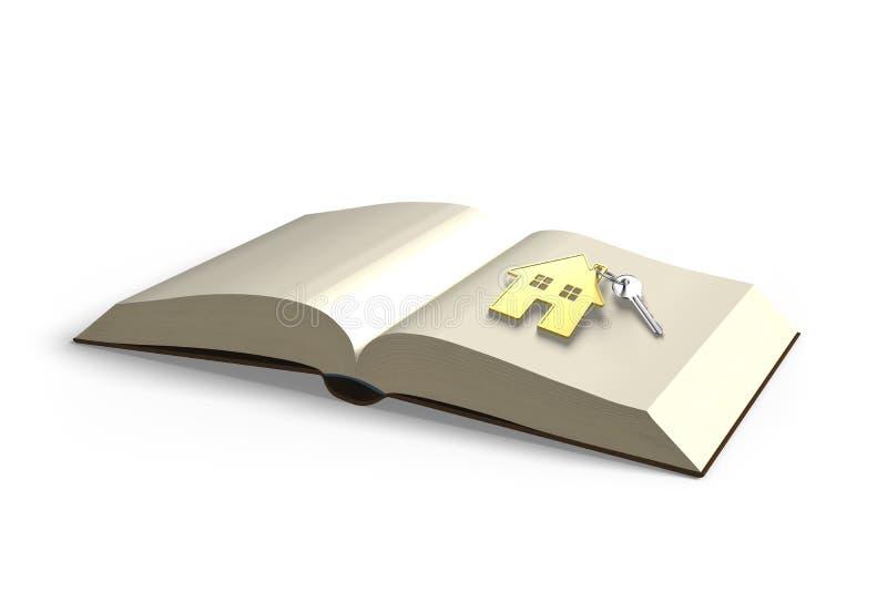 Openend boek met zeer belangrijk en gouden huis, brengt de kennis rijkdom, vector illustratie