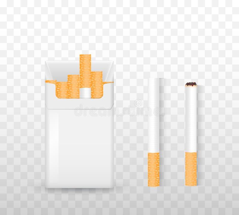 Openend een pak sigaretten, steek een sigaret op een transparante achtergrond aan Het concept drugsverslaving Reeks voor rokers vector illustratie