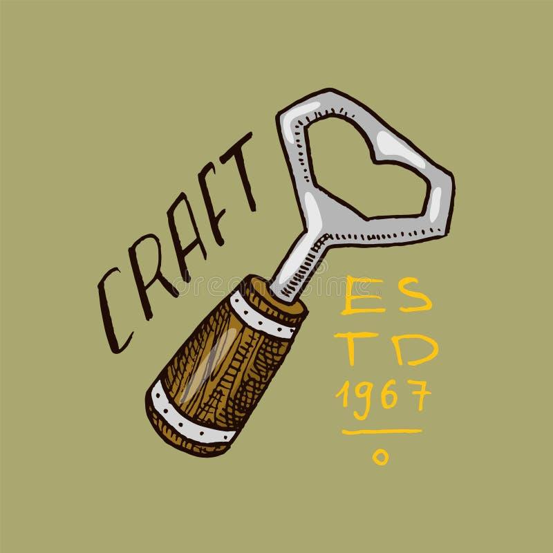 Opener voor bier in uitstekende stijl Alcoholisch Etiket met kalligrafische elementen Klassiek Amerikaans kenteken voor afficheba stock illustratie