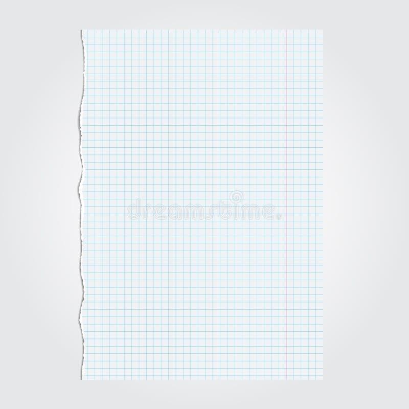 Opengescheurd stuk van document van notitieboekje Vector illustratie vector illustratie