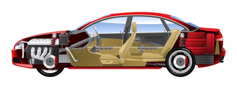 Opengewerkte auto. vector illustratie