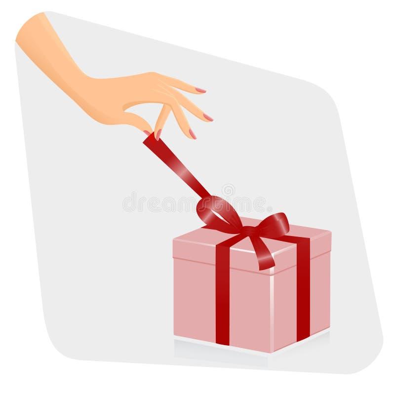 openiing prezent żeńska ręka ilustracji