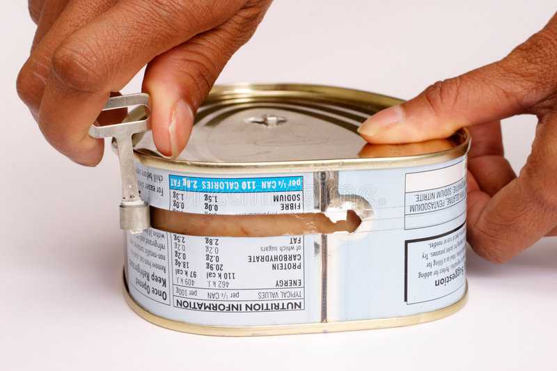 Opening a can stock photos