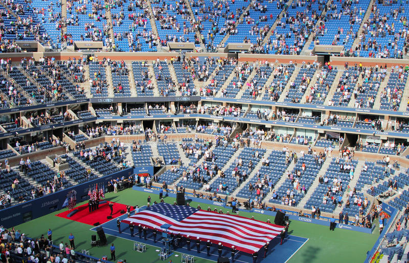 The opening ceremony of US Open men final match at Billie Jean King National Tennis Center. FLUSHING, NY - SEPTEMBER 10: The opening ceremony of US Open men stock photography