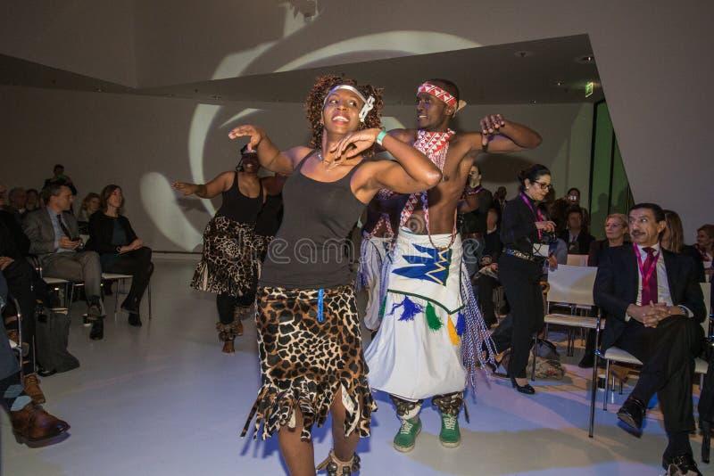 Opening ceremony vakantie beurs travel fair utrecht festive african dancers royalty free stock photo