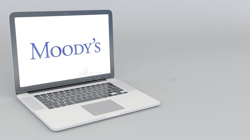 Opening and closing laptop with Moody`s Corporation logo. 4K editorial 3D rendering. Opening and closing laptop with Moody`s Corporation logo. 4K editorial 3D vector illustration