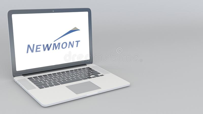Opening And Closing Laptop With Newmont Mining Corporation Logo 4k