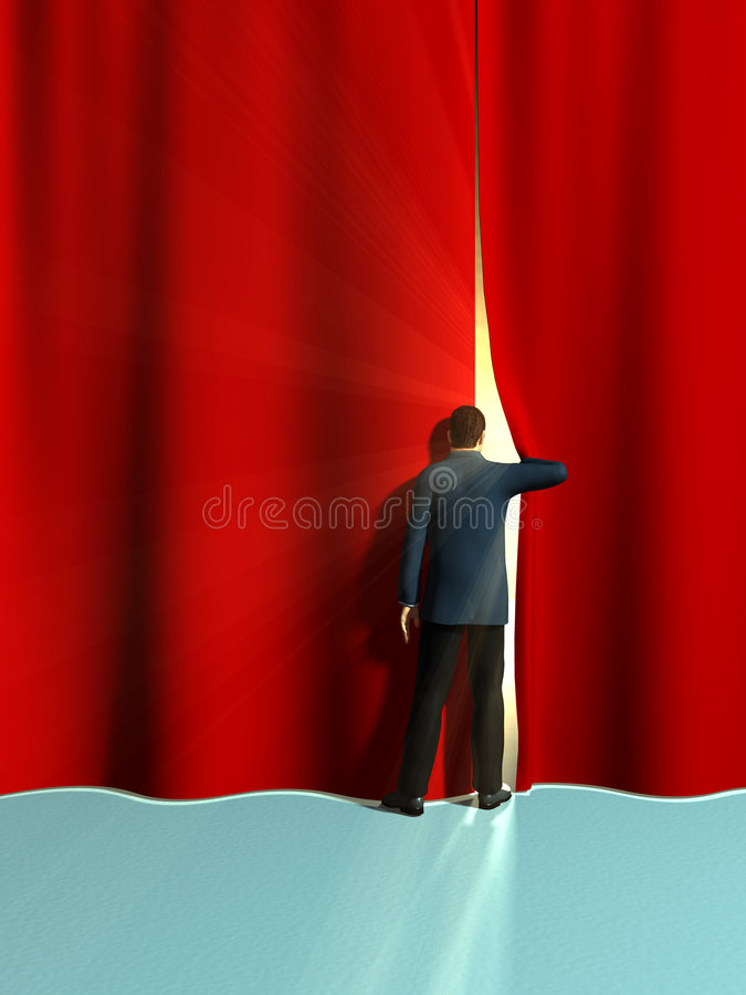 Opening curtains vector illustration