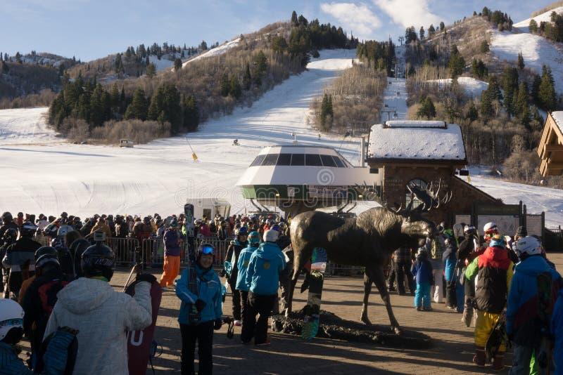 Opening day at Snowbasin royalty free stock image