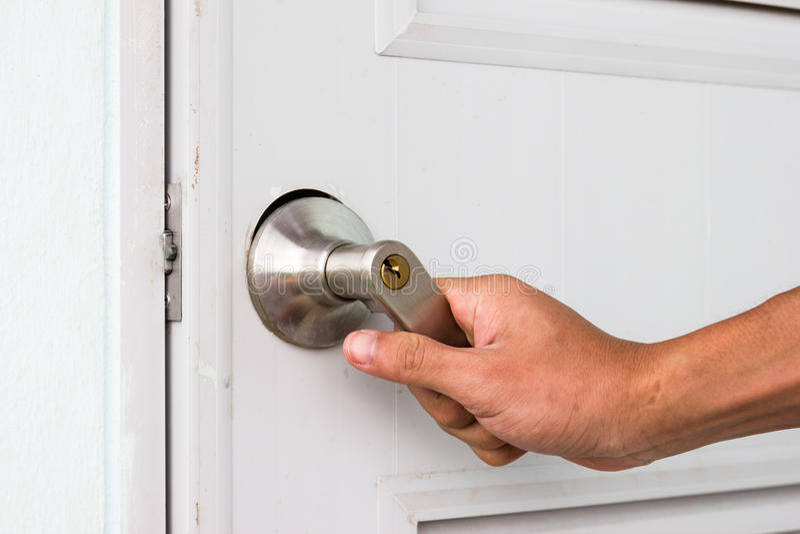 Opening door knob stock image