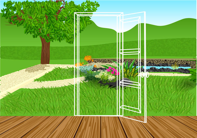 Opening door. Silhouette of door and green lawn royalty free illustration