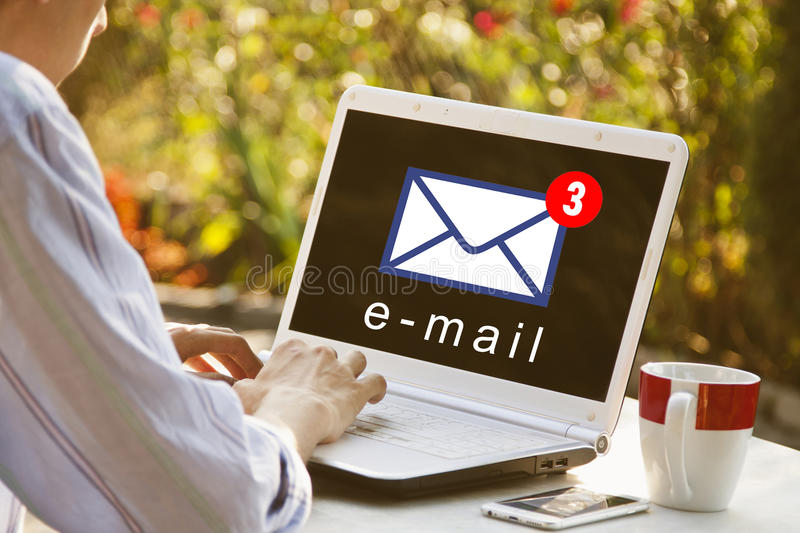 Opening email on the laptop royalty free stock image