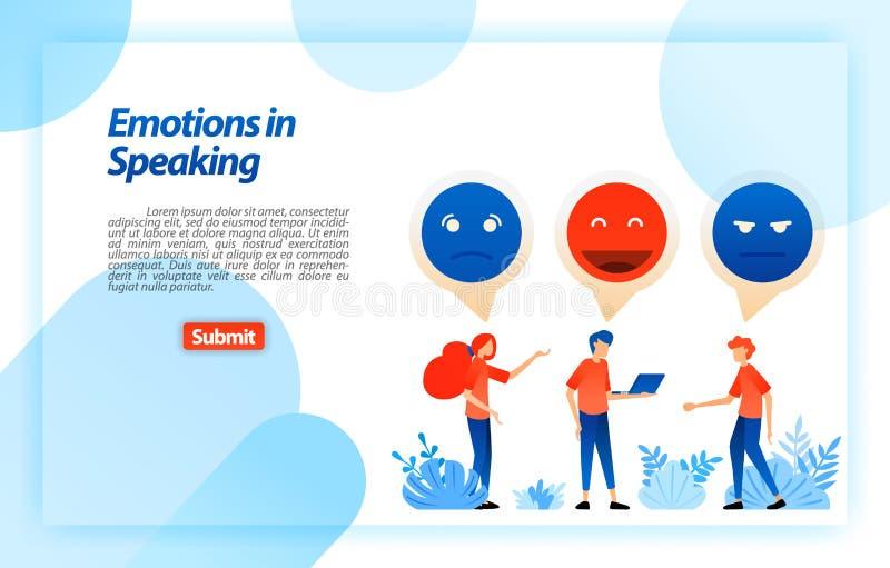 Opening en praatje met emojis en emoticons de mensen communiceren, dialoog, bespreking, het spreken problemen en pret Vectorillus royalty-vrije illustratie