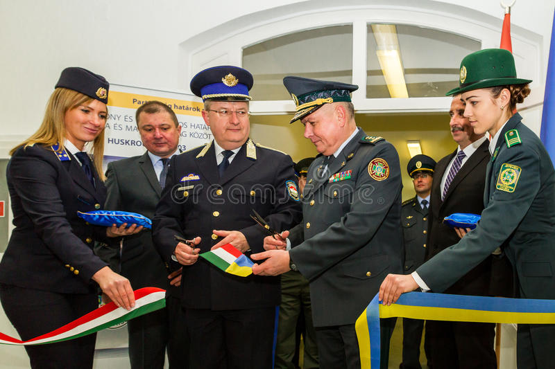The opening of the first joint contact point on the Ukrainian-Hungarian border royalty free stock photo