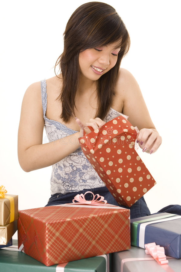 Download Opening a Gift stock image. Image of receive, jeans, take - 250959