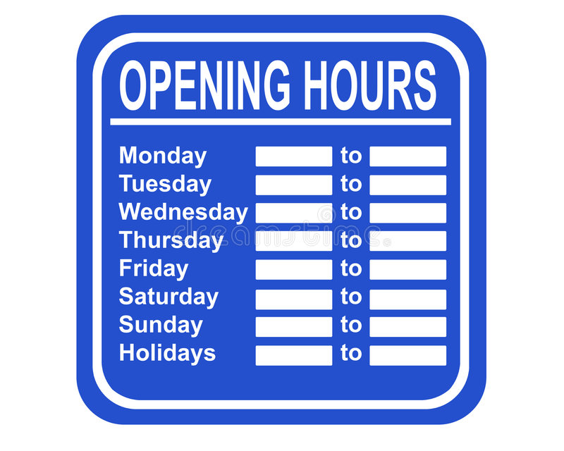 Opening hours stock illustration