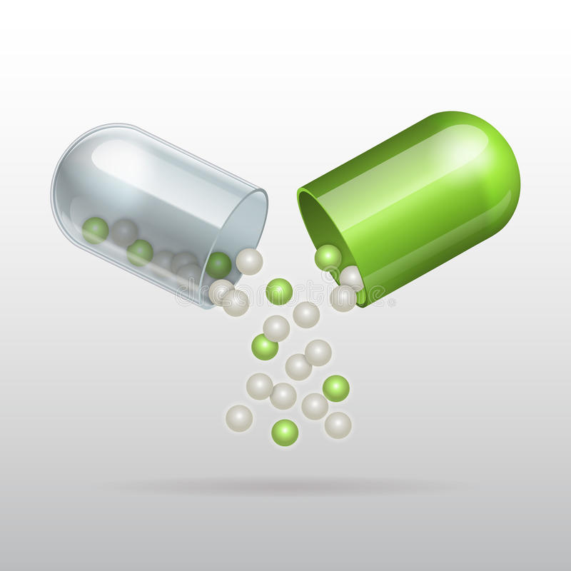Free Opening Medical Green Capsule Stock Photo - 41829730