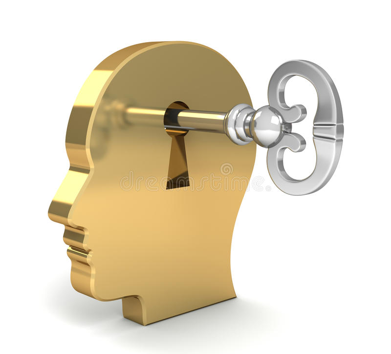 Opening mind with a key concept 3d illustration royalty free illustration