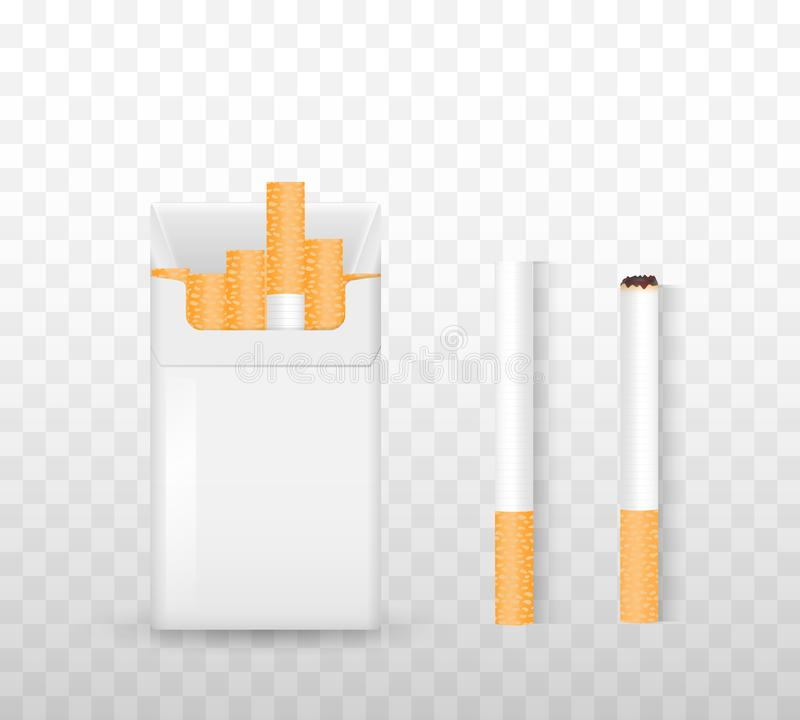 Opening a pack of cigarettes, light a cigarette on a transparent background. The concept of drug dependence. Set for smokers. Realistic vector illustration vector illustration