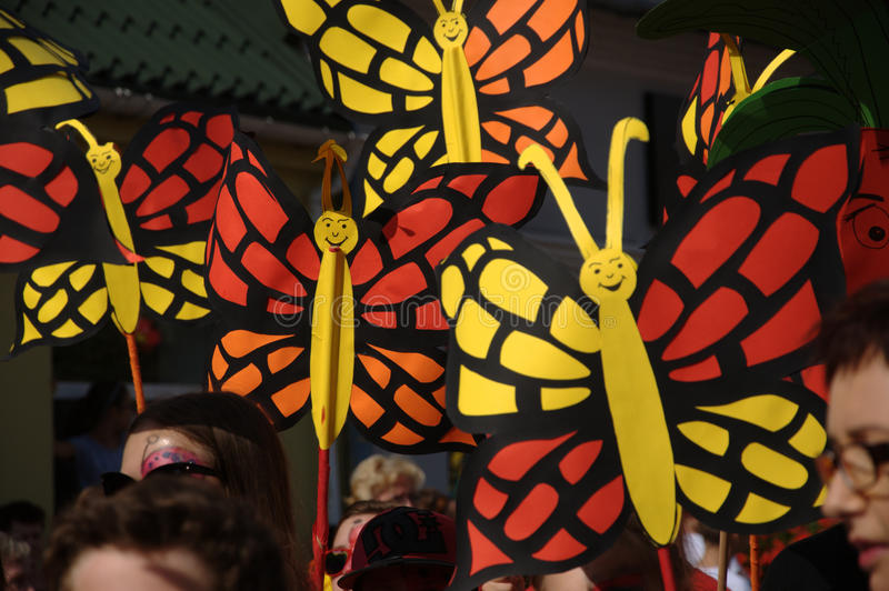 Opening Parade - paper butterflies. Feast flowers fruit and vegetables - Skierniewice Poland 2015 stock photography