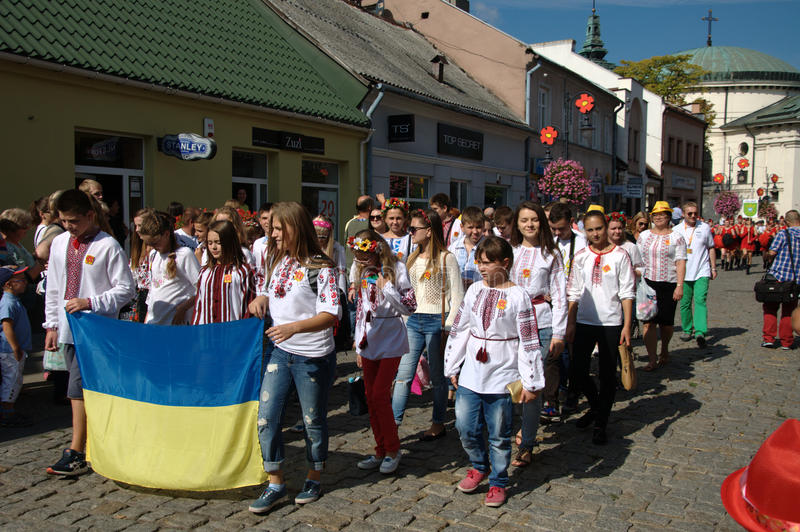 Opening Parade - representation of ukraine. Feast flowers fruit and vegetables - Skierniewice Poland royalty free stock image