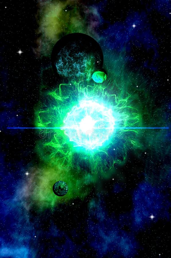Opening a portal to hyperspace. Deep outer space background with stars and nebula.Can be used as a screensaver on the desktop, as a background, cover or royalty free illustration