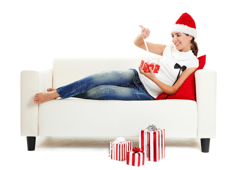 Download Opening the presents stock image. Image of gifts, santa - 12022039